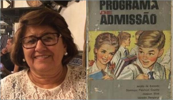 Educadora Maria das Graças Baracho e capa do livro Programa Exame de  Admissão c8677b1760